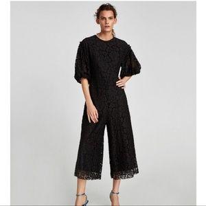 Zara black lace jumpsuit floral large